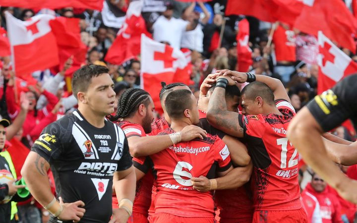 Tonga celebrate a try. Kiwis v Tonga, Rugby League World Cup, Hamilton,  2017.