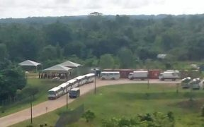 The convoy approaches the Manus Island detention centre.