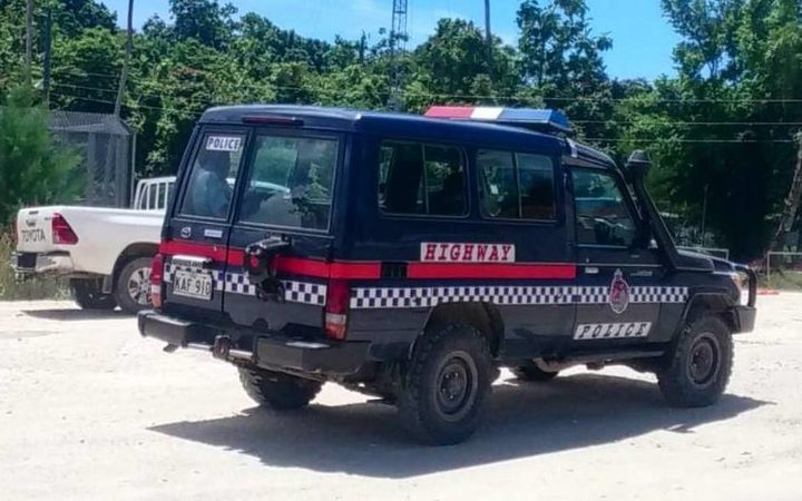 A police vehicle at the Manus Island detention centre.
