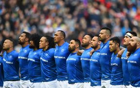 Manu Samoa sing the anthem before their test against Scotland at the weekend.