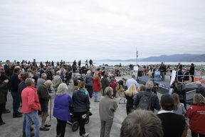 Kaikōura's residents have turned out in force for the official opening of the tourist town's quake-damaged harbour in South Bay.
