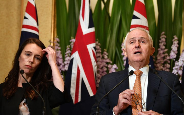 NZ Prime Minister Jacinda Ardern with her Australian counterpart Malcolm Turnbull in Sydney.