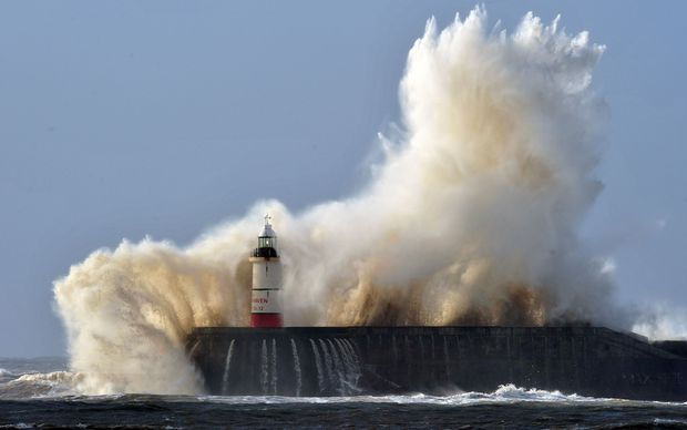 High winds from the latest winter storm batter Newhaven on the south coast of England.