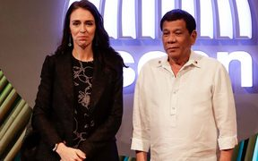 Prime Minister Jacinda Ardern and Philippine President Rodrigo Duterte at the ASEAN Summit in Manila.