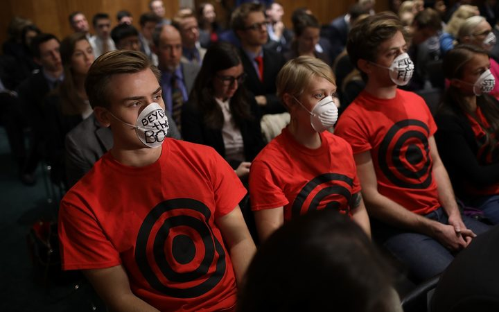 Protesters at the US Senate Foreign Relations Committee hearing on the presidential authority to order a nuclear strike.