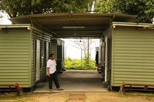 One of the first group of asylum seekers at the Manus Island centre in August 2013.