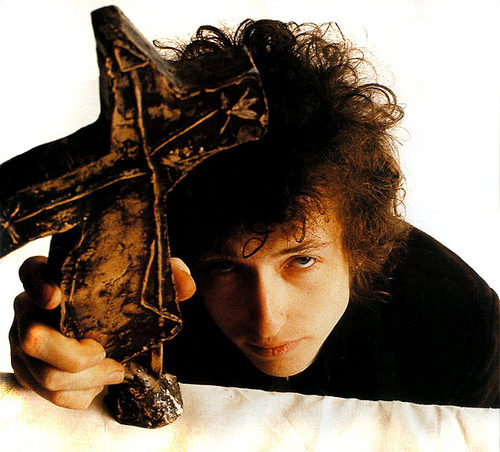 Dylan with cross, 1966