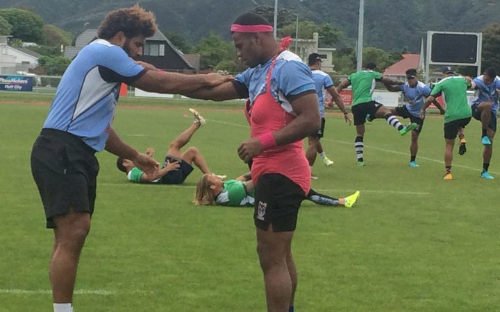 Fijian league team training in Lower Hutt.