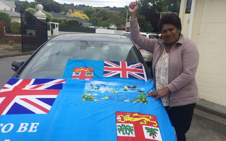 A Fijian supporter watches the team train in Lower Hutt.
