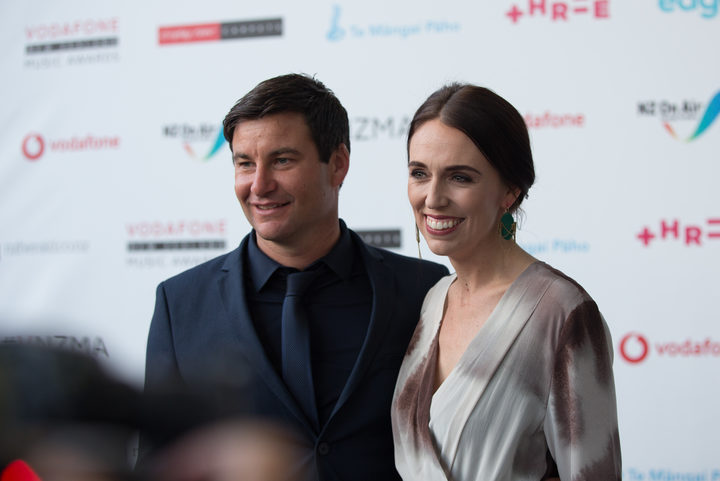 Prime Minister Jacinda Ardern and partner Clarke Gayford.Photo/ Claire Eastham-Farrelly