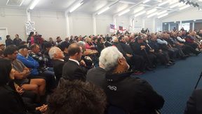 Crowd of about 400 packed into Waitaha conference hall in Waitangi to meet Andrew Little.