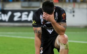 New Zealand's Shaun Johnson dejected  after the loss. Kiwis v Fiji, Rugby League World Cup.
