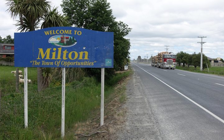 "Milton's sign hails the settlement as the ""Town of Opportunities"", unfortunately for residents those opportunities have been recognised by some in the methamphetamine trade. Photo / Tim Brown"