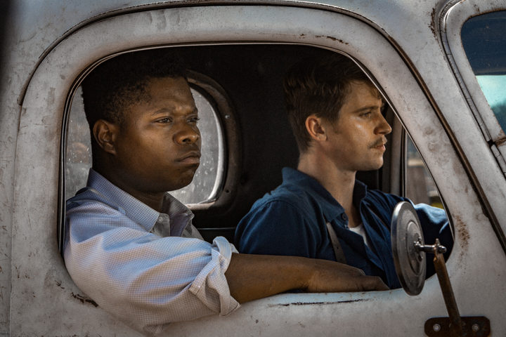 Jason Mitchell as Ronsel and Garrett Hedlund as Jamie - two veterans returning to find they are on different sides back in Mississippi.