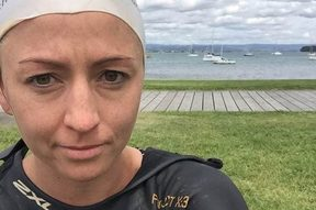 A shark in Pilot Bay surprised Auckland swimmer Sarah O'Grady.