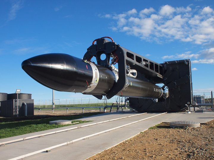 Rocket Lab's Electron rocket being prepared for launch.