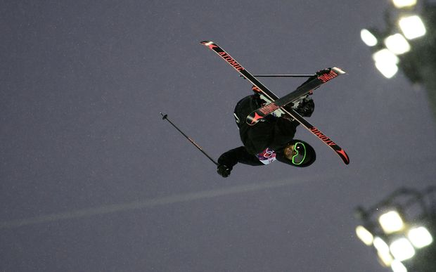 Jossi Wells in the men's ski halfpipe qualifications.
