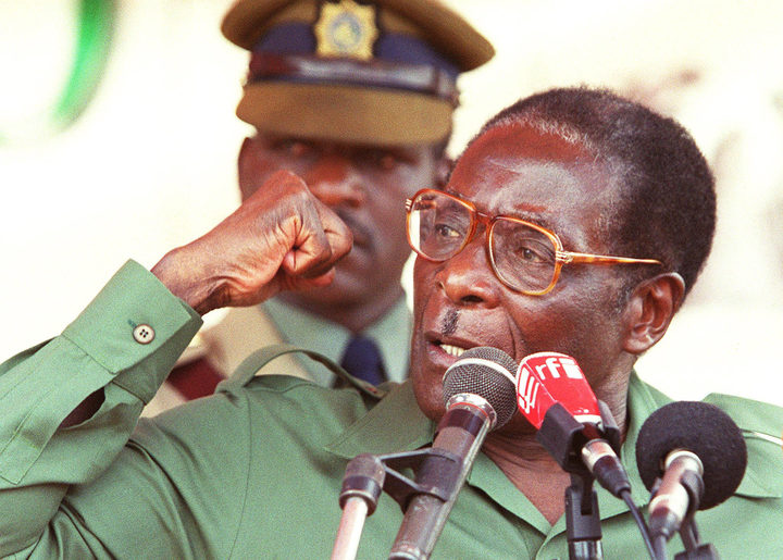 This file photo taken on April 08, 2000 shows Zimbabwe President Robert Mugabe speaks at his first election rally for the coming Parliamentary elections in Bindura, 80 kilometers north of Harare.