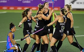New Zealand celebrate a goal against Argentina.