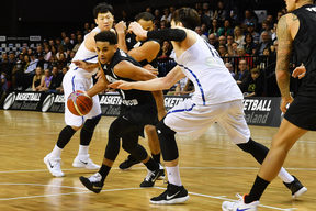 Tall Blacks player Corey Webster dribbles the ball during the Basketball World Cup qualifier match between the Tall Blacks and Korea at TSB Arena in Wellington.
