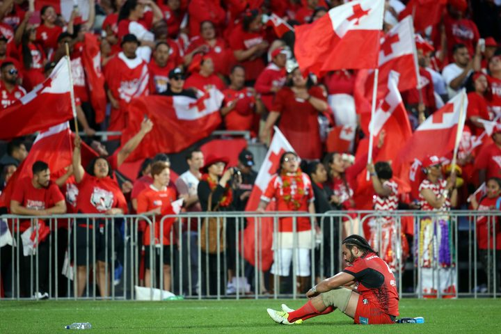 Tonga's Konrad Hurrell reacts after the semi-final loss to England.
