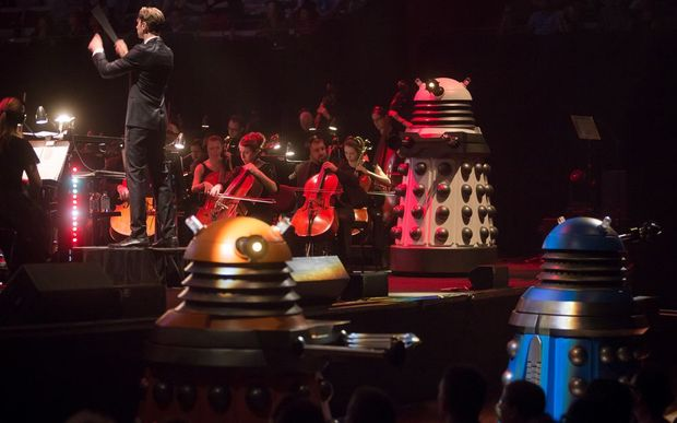 Ben Foster conducts the Dr Who Symphonic Spectacular.