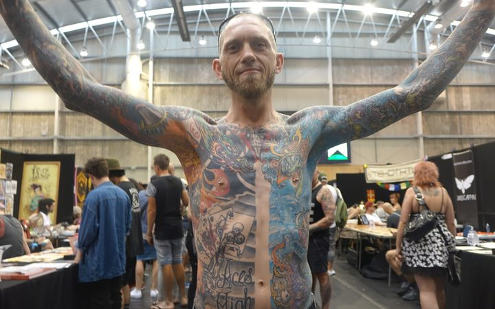 Daniel 'Stretch' Stretton of New Plymouth is running out of space for more tattoos.