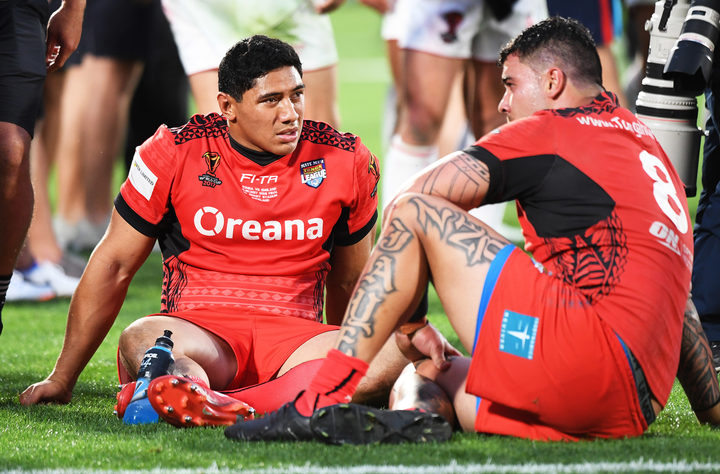 Jason Taumalolo and Andrew Fifita at the end of the narrow 20-18 loss to England.