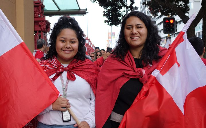 Tongan rugby league fans Serah Kalolo (left) and Torisse Laulu