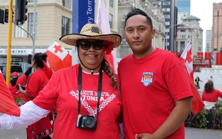 Tongan fans Joel Cook and his aunty at the gathering in Auckland.