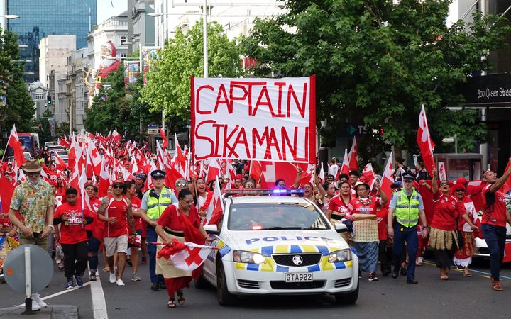 Tongan fans in central Auckland