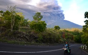 Mount Agung erupts on Indonesia's resort island of Bali.