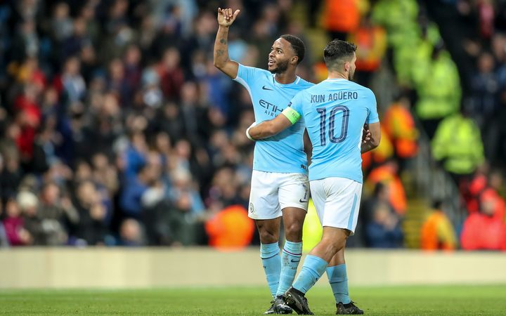 Manchester City's Raheem Sterling  thanks the fans after scoring a goal.