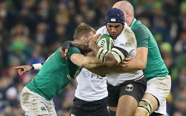 Fiji wing Nemani Nadolo is tackled during the test against Ireland.