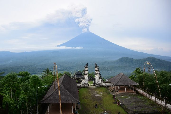 Mount Agung viewed from Lempuyang Temple in Bali.