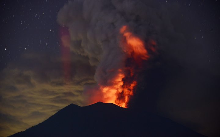 Mount Agung erupts at night.