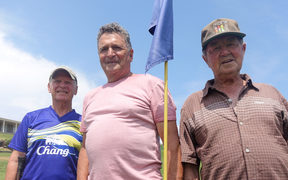Golfers Warren Seastrand, left, Jeff Blyde and Denis Rowe scoff at the idea of reducing the Fitzroy to a nine-hole course.