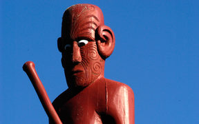 Traditional Maori wall carving.