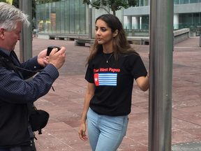 New Zealand Green MP Golriz Ghahraman attends West Papua protest