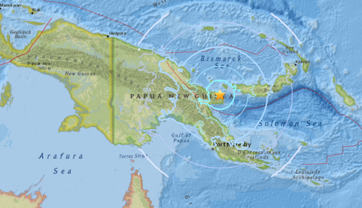 The quake struck to the northeast of Papua New Guinea.