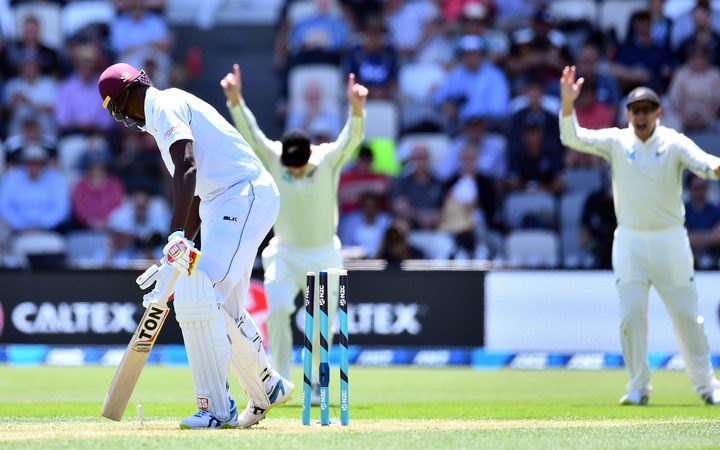 West Indies captain Jason Holder out bowled off the bowling of Neil Wagner First Test Basin Reserve 2017