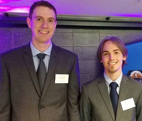 Sheldon Nunes, left, and Nick Mertens were finalists in Callaghan Innovation's C-Prize with their FallCast wearable technology that can warn of the potential for falls in the elderly.