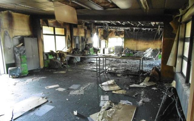 Fire damage to the interior of Green Bay Primary School.