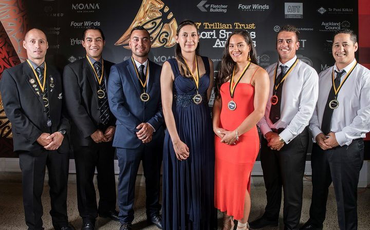 The ACC Sportsmart Māori in World Champion Teams are John Kirkpatrick, left, Joel Henare, Shannon Mcilroy, Mary Ann Baty, Terina Te Tamaki, Thomas Enoka, and Nathan Nukunuku at the  27th Maori Sports Awards in Auckland.
