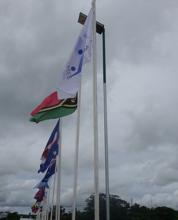 Flags fly at the Mini-Games in Port Vila