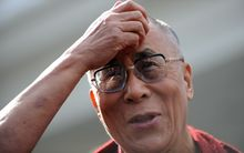 The Dalai Lama speaking to media after his White House meeting.