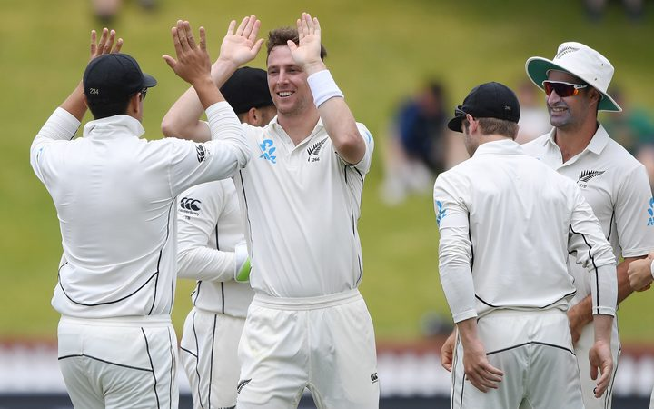 Matt Henry celebrates a wicket at the Basin Reserve.