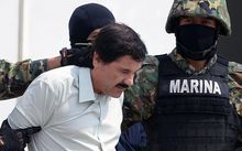 Mexican drug trafficker Joaquin Guzman escorted by marines.