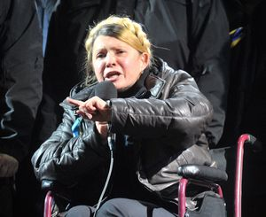 Yulia Tymoshenko addressed the crowd from a wheelchair after suffering a back injury.