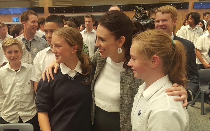 PM Jacinda Adern meets students at Aotea College in Porirua.